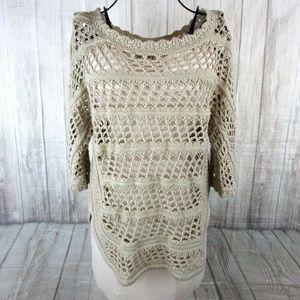 Allen B By Allen Schwartz Crochet Shirt Sweater S